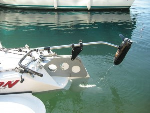 Triton Tandem Sailer Rudder with Outboard Up